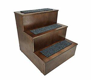 FixtureDisplays 12226-FBA-P Escaliers de luxe en bois pour animaux domestiques 3 marches pour accéder au lit, canapé, échelle de deux tailles au choix 14x14x19″ Multicolore