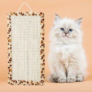 GOTOTOP Conseil à gratter pour Chat, Chaton Sisal Suspendu à gratter Chat Griffe meulage Scratch Pad Accessoire de Jouet pour Animaux(Imprimé léopard)