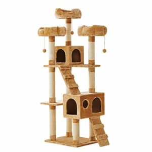 HongTeng Chat Escalade Cadre litière Chat Arbre Arbre Cadre de Chat lit lit Villa Villa Jouet Jouet Fournitures Multi-Couche (Color : Yellow)