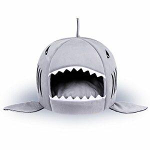 IBLUELOVER 2 en 1 Coussin Canapé Lit pour Chien Chat Niche Nid Chaud de Chien Chat Maison Sac de Couchage en Forme Requin Niche Chien Chiot Intérieur pour Animaux de Compagnie Cadeau Noël