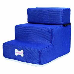 jiashemeng Escalier pour Animaux De Compagnie, Escaliers pour Animaux De Compagnie en 3 étapes, Animaux De Compagnie 3 étapes, Rampe Antidérapante Amovible, Escalade De Lit Amovible Bleu Profond