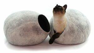 Kivikis Cat Bed, Cat House, Cat Cave L.Natural Sheep Wool. Fabriqué par