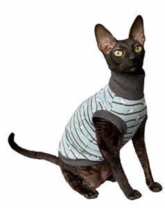 Kotomoda Sphynx Cat 's Turtleneck Vêtements pour chat sans poils Vert Taille M