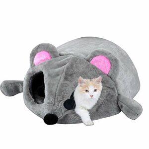 Lit gris souris pour petit chat chien niche lit avec tapis amovible, fond antidérapant, 50 x 40 x 21 cm