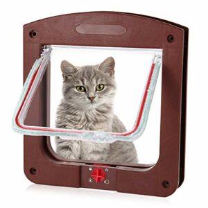 metagio Chatière avec tunnel – Chatière pour chat ou chien – Pour petits chiens et petits animaux domestiques – Marron