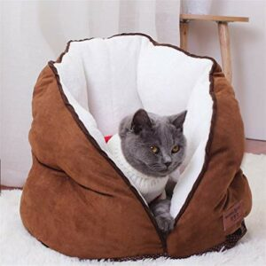 NA Niche Chat, Chaud Chiot Kennel Coussin Coussin Pet Produits Cat Soft Chat Sac de Couchage Pet Dog Cat House Tente Court Peluche Petite Animaux Lit Maison pour Chat (Couleur : Black, Size : Small)