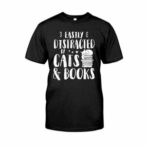 Situen Easily Distracted by Cats and Books 7 T-Shirt