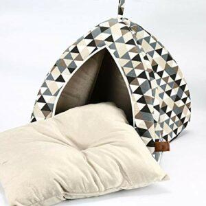 Tente pour Chat, Motif de Couture Triangulaire, lit pour Animal de Compagnie Igloo Confortable, Coussin Mobile, Trou de Couchage pour Chat, nid pour Animal de Compagnie Semi-fermé (45 * 45 * 45 cm)