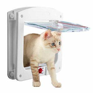 THETAG Chatière pour chat et petit chien – Fermeture 4 voies – Blanc – Taille S