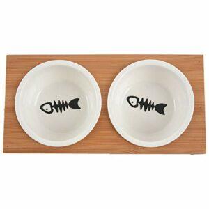 Varadyle Mode Chat Chien Mangeoires Bols Vaisselle en Bambou Céramique Aliments pour des Animaux Bol De l'eau De Haute Qualité Antidérapant Fournitures pour Animaux Bol M