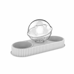 Vinkkatory Double gamelle automatique pour chat – Gamelle anti-renversement – Pour nourriture et riz – Protection du cou – 295 x 265 mm – Gris