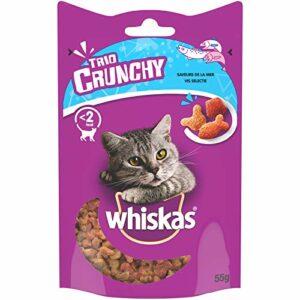 Whiskas Trio Crunchy Treats – Friandises aux saveurs de la mer pour chat, 6 boîtes de 55g de récompenses
