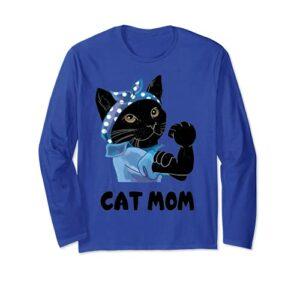 Chat noir mignon maman chat fête des mères Manche Longue