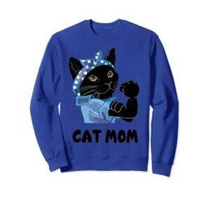 Chat noir mignon maman chat fête des mères Sweatshirt