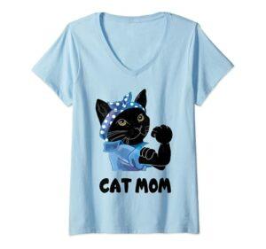 Femme Chat noir mignon maman chat fête des mères T-Shirt avec Col en V