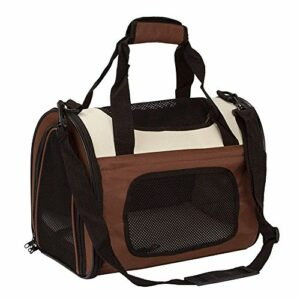 LEIJINGZI Featured Goods Sac à bandoulière for chiens de compagnie for chiens et chats, cage pliante portable for les trains de petits animaux, transport en voiture, 50 * 30 * 33 cm ( Color : Brown )