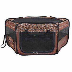 ZHJBD LEIJINGZI Featured Goods Playpen Pliable Portable Portable 6 côtés Clôture de Tente intérieure/extérieure for Chiens Chats (Brun)