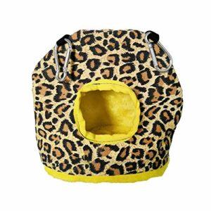 Zongha Cage Rat Hamac Chat Perruche Jouets Fournitures d'oiseaux Nid d'oiseau Suspendu Parrot Hamac Petit Lit pour Chien Pet Hamac Oiseau Hamac Leopard Print,L