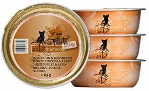 catz finefood Nourriture Humide pour Chat – N° 409 – sans céréales – pour la Dinde, Le Poulet et Les Lapins – Nourriture Humide sans Sucre – pour Chat