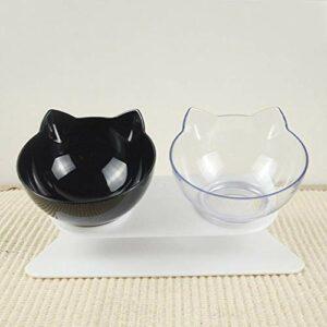 FLAMEER Bol pour Animaux de Compagnie Portable Bol pour Chien Chat Bol d'eau Bol pour Chat Ensemble Bol d'alimentation Lavable Double Bol Design – Noir et Transparent