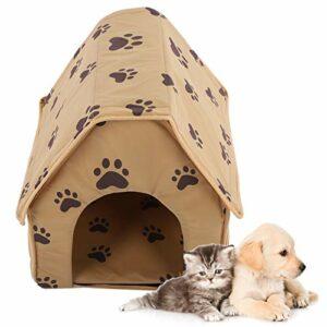 Germerse Maison pour Animaux de Compagnie, nid pour Animaux de Compagnie, Tissu + Mousse PE pour Chats Chiot Chaton Petits Animaux(Brown)