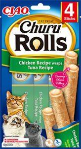 INABA Churu Rolls – Friandises pour Chats à Nourrir à la Main – Délicieux Snacks pour Chats avec Une Garniture crémeuse – Poulet enrobé de Thon