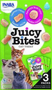 INABA Juicy Bites – Friandises pour Chats – Grignotages avec Un Centre juteux dans des Formes Amusantes – Bouillon Maison et calmar