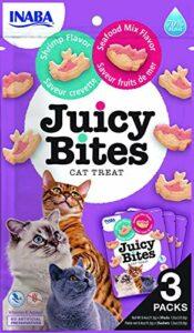 INABA Juicy Bites – friandises pour Chats – Grignotages avec Un Centre juteux dans des Formes Amusantes – Crevettes et Fruits de mer