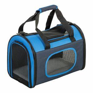Iris Ohyama, Sac de transport / caisse transport pliable, 3 ouvertures à glissière, bandoulière & poignées, ventilation optimale, pour chat & chien – Fold Fabric Pet Carry DCC002F4 S – Bleu marine