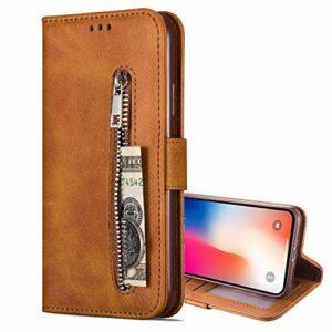 Nadoli Flip Coque pour Xiaomi Mi 11,Fermeture éclair Désign Faux Cuir Magnétique Style de Livre Fentes pour Cartes Portefeuille Étui Housse avec Dragonne
