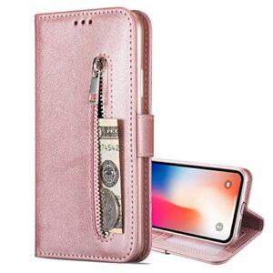 Nadoli Flip Coque pour Xiaomi POCO X3 NFC,Fermeture éclair Désign Faux Cuir Magnétique Style de Livre Fentes pour Cartes Portefeuille Étui Housse avec Dragonne