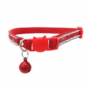Newtensina Collier de Chat de Cloche Confortable équipé Doux Bling Mignonne Kitten Colliers avec Diamante – Rouge – S