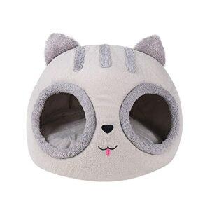 Panier pour chat – Nid pour animal domestique – Portable – Tête de chat – Demi fermé – Épais – Chaleur