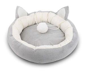 Supremery Panier pour chat moelleux avec coussin intérieur doux (lavable) – Niche pour chat ou chien de petite à moyenne taille.