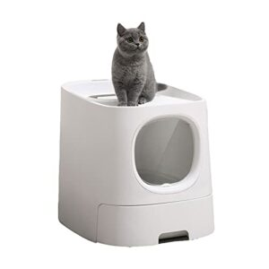 Toilettes de chat portable PET Litterbox Poche Cat Litiser Boîte à capuche Filtre à capuche Coutier antiadhésif Côté de litière arrondi Facile à nettoyer la boîte de litière de chat avec pelle de liti