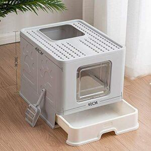 XBSXP Litière pour Chat avec Couvercle Grande litière Boîte pour Chat Toilette pour Chat Bassin de lit Pliable Anti-éclaboussures Boîte à litière pour Chats Type de tiroir de Toilette fe