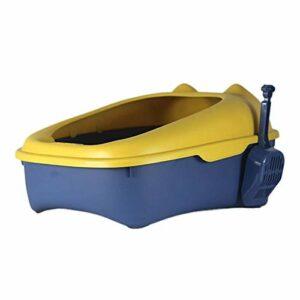 XBSXP Litière pour Chat Semi-fermée, Conception d'arc intérieur, Ouverture Anti-éclaboussures, Toilette pour Chat, Bassin d'excréments de Chat pour Chats de Moins de 10 kg, Bleu, L