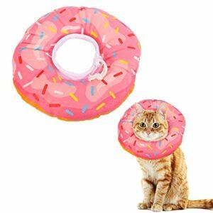 Xinzistar Collier cône de récupération souple pour chaton après la chirurgie Collier de guérison réglable Élisabeth Cône de coton (M, beignet rose)