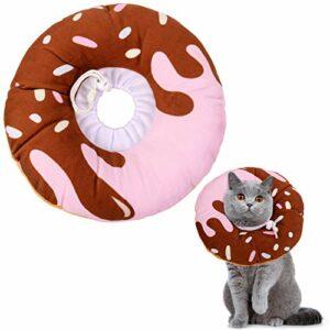 Xinzistar Collier cône de récupération souple pour chaton après la chirurgie Collier de guérison réglable Élisabeth Cône de coton (S, beignet chocolat)