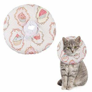 Xinzistar Collier conique de récupération pour chat et chaton – Doux – Protection après chirurgie – Réglable – Cône en coton confortable – Taille S – Crème glacée