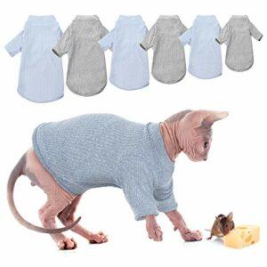 Gilet sans poils à col roulé – Respirant – Adorable vêtement pour chat – Avec manches – Pour Sphynx, Cornish Rex, Devon Rex, Peterbald