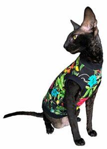 Kotomoda Hairless Cat's T-shirt en coton stretch Motif fleurs de nuit pour chats Sphynx (L)