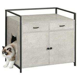 MSmask Niche pour chat ou litière pour chat, grande maison pour chat avec tiroir, bac à litière caché, meuble de rangement (gris)