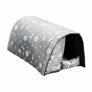 QIEZI Maison pour Animaux de Compagnie isolée étanche avec Toit, abri Chaud pour Chat extérieur Pliable, lit pour Chien Doux Lavable Portable, Cabine de Tente de nid en Toile Chaude d'hiver