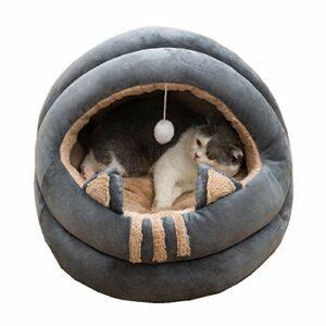 Queta Niche pour chat – Nid de taille moyenne – Convient pour chats, chatons, chiots et chiots – Lit doux et confortable pour toutes les saisons – 40 cm (design semi-fermé)