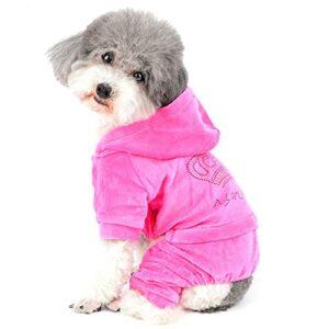 Ranphy Combinaison en velours doux avec capuche pour chien et chat Rose Taille XL