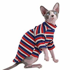 Sphynx T-shirt d'été en coton respirant avec col rond pour chaton sans manches pour chats et petits chiens, XL (9-12.1 lbs), bleu et rouge