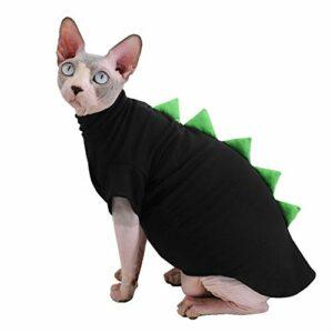 Sphynx Vêtements pour chat sans poils en coton respirant et respirant pour l'été (S (0,9-1,6 kg), noir)