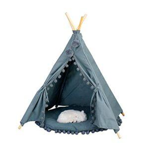 Tente de compagnie Tente en toile avec coussin Pet chat fournitures de chiot petite maison rapidement assemblée désassemblée pour la tente de TeePee de machine lavable à la machine Tente de chat et de