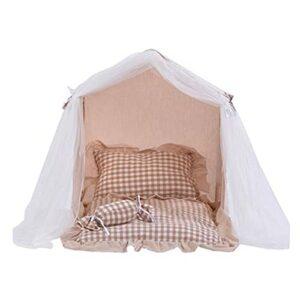 yaunli Tente de Compagnie Dog House & Cat Teepee lit – Lits Pliables pour Chien et Tente de Chien avec Coussin épais Tente de Chat et de Chien Lavable (Couleur : Beige, Size : 40×35×50cm)